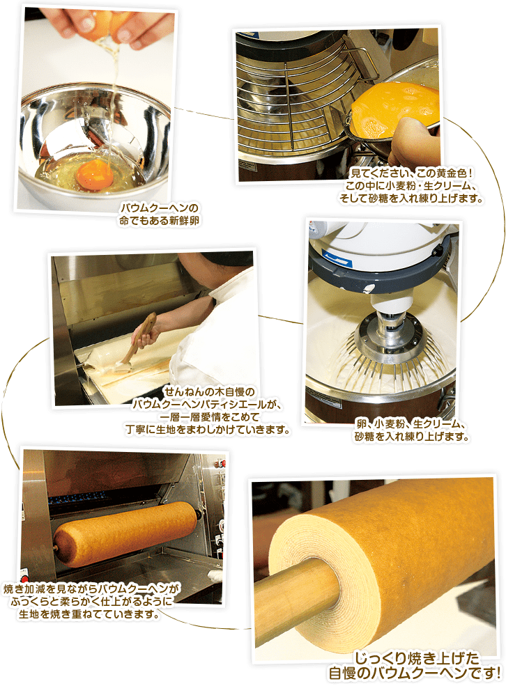 木更津市のバームクーヘン専門店「せんねんの木」製造工程